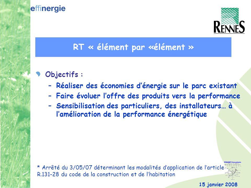 15 janvier 2008 Objectifs : –Réaliser des économies dénergie sur le parc existant –Faire évoluer loffre des produits vers la performance –Sensibilisation des particuliers, des installateurs… à lamélioration de la performance énergétique * Arrêté du 3/05/07 déterminant les modalités dapplication de larticle R.131-28 du code de la construction et de lhabitation RT « élément par «élément »