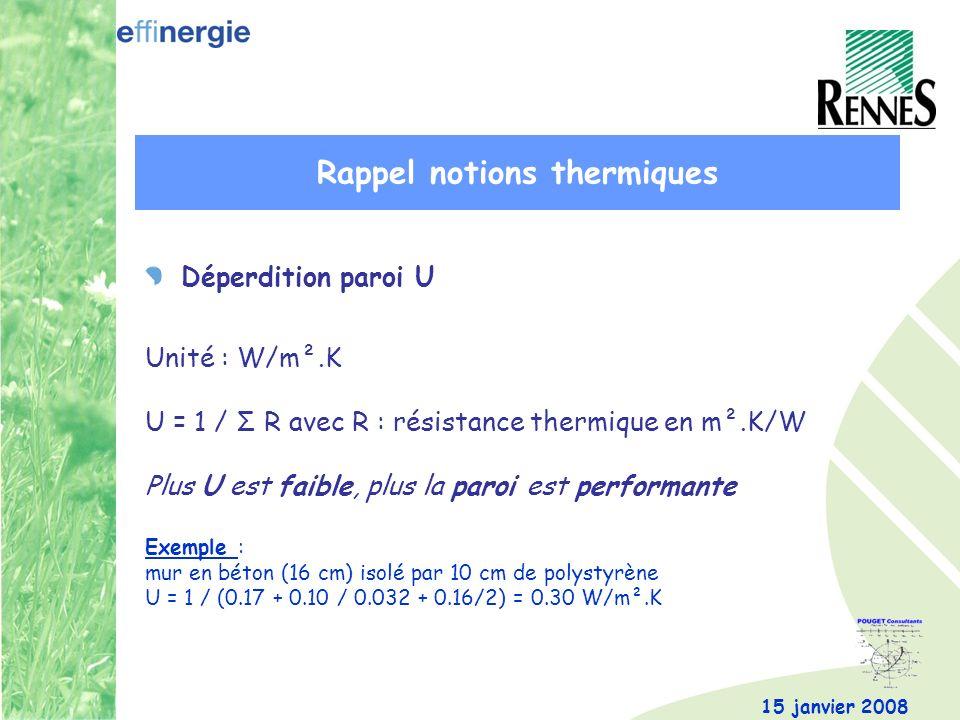 15 janvier 2008 Déperdition paroi U Unité : W/m².K U = 1 / Σ R avec R : résistance thermique en m².K/W Plus U est faible, plus la paroi est performante Exemple : mur en béton (16 cm) isolé par 10 cm de polystyrène U = 1 / (0.17 + 0.10 / 0.032 + 0.16/2) = 0.30 W/m².K Rappel notions thermiques