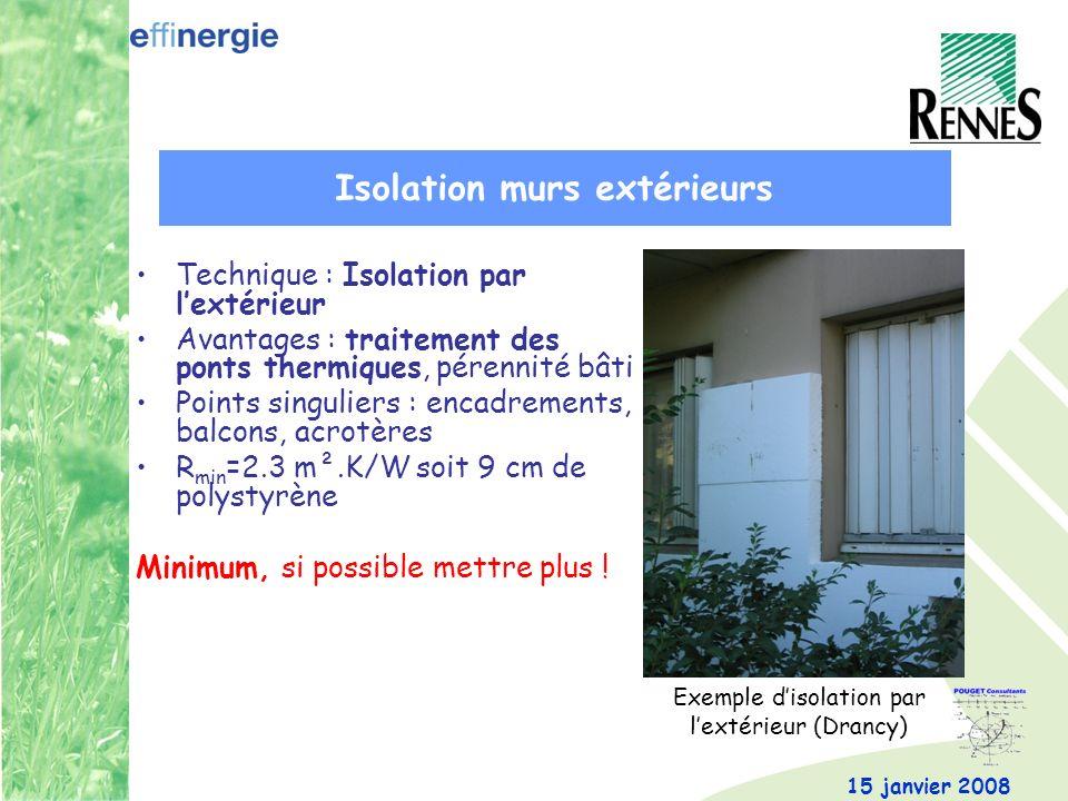 15 janvier 2008 Technique : Isolation par lextérieur Avantages : traitement des ponts thermiques, pérennité bâti Points singuliers : encadrements, balcons, acrotères R min =2.3 m².K/W soit 9 cm de polystyrène Minimum, si possible mettre plus .
