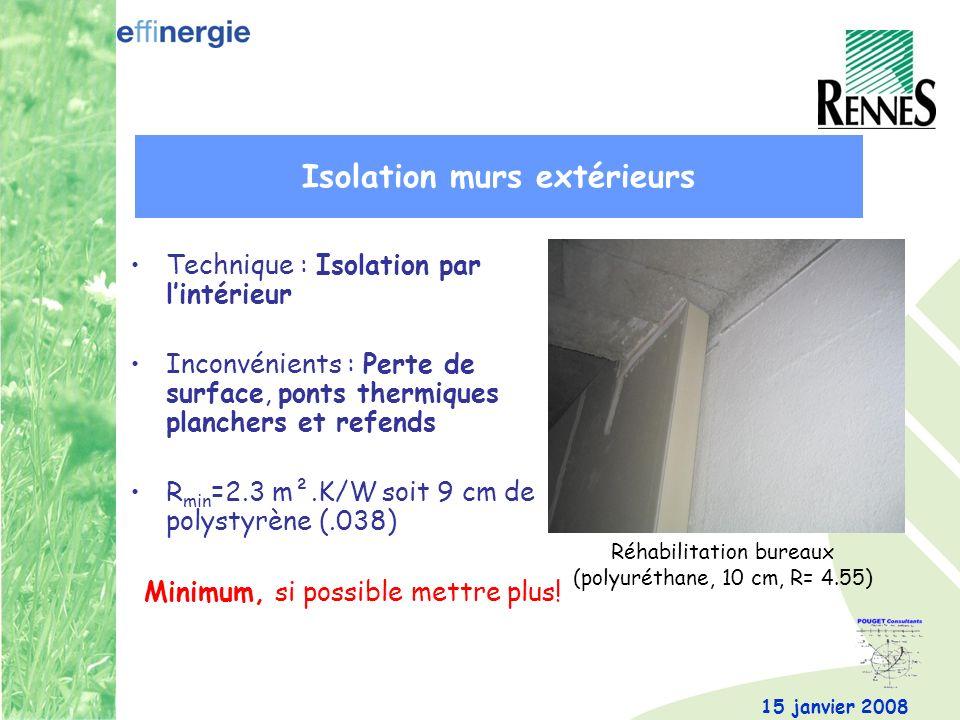 15 janvier 2008 Technique : Isolation par lintérieur Inconvénients : Perte de surface, ponts thermiques planchers et refends R min =2.3 m².K/W soit 9 cm de polystyrène (.038) Minimum, si possible mettre plus.