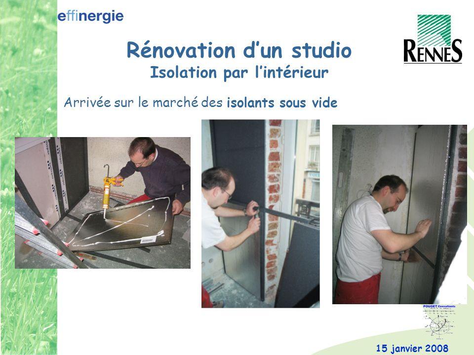 15 janvier 2008 Rénovation dun studio Isolation par lintérieur Arrivée sur le marché des isolants sous vide