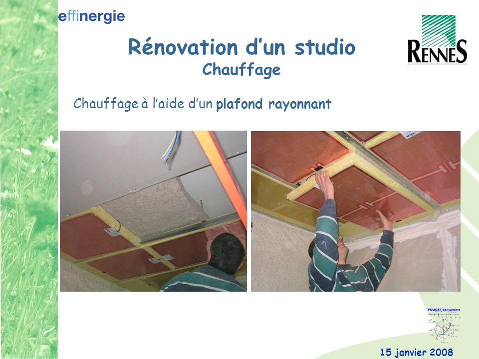 15 janvier 2008 Rénovation dun studio Chauffage Chauffage à laide dun plafond rayonnant