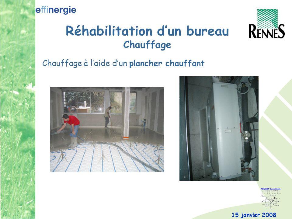 15 janvier 2008 Réhabilitation dun bureau Chauffage Chauffage à laide dun plancher chauffant