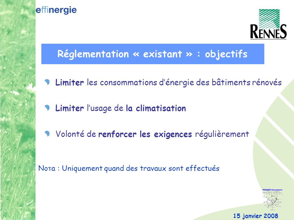 15 janvier 2008 Limiter les consommations dénergie des bâtiments rénovés Limiter lusage de la climatisation Volonté de renforcer les exigences réguliè
