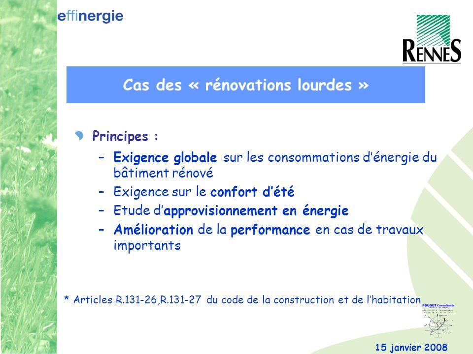 15 janvier 2008 Principes : –Exigence globale sur les consommations dénergie du bâtiment rénové –Exigence sur le confort dété –Etude dapprovisionnemen