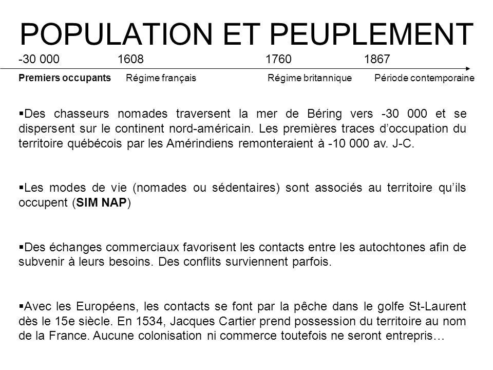 POPULATION ET PEUPLEMENT -30 000 160817601867 Premiers occupants Régime français Régime britannique Période contemporaine Des chasseurs nomades traversent la mer de Béring vers -30 000 et se dispersent sur le continent nord-américain.