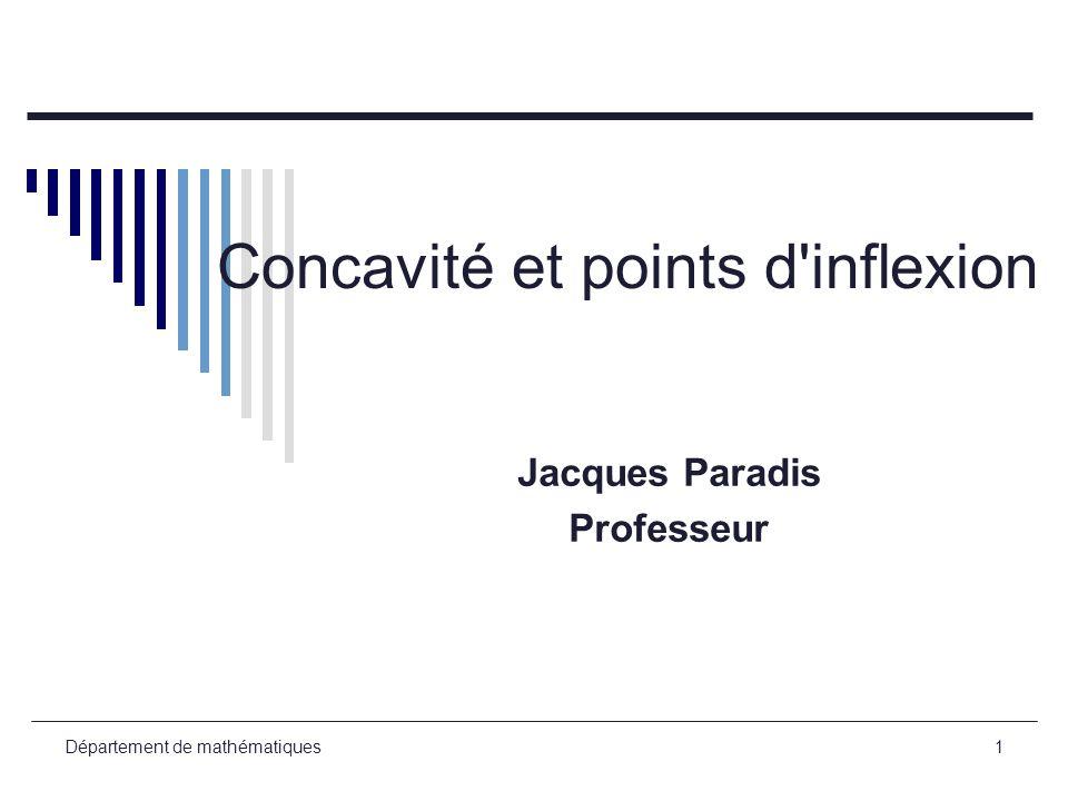 Département de mathématiques1 Concavité et points d'inflexion Jacques Paradis Professeur