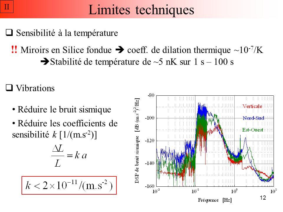 Horizontale NPL PTB Les vibrations Sensibilité estimée à : II z Support en V JILA Verticale 13