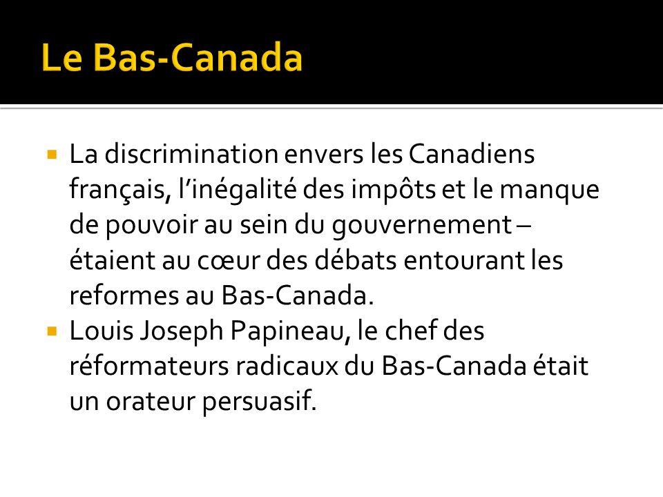 La discrimination envers les Canadiens français, linégalité des impôts et le manque de pouvoir au sein du gouvernement – étaient au cœur des débats en