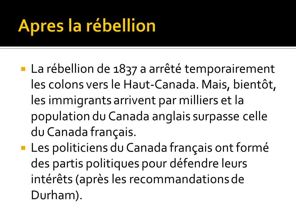 La rébellion de 1837 a arrêté temporairement les colons vers le Haut-Canada. Mais, bientôt, les immigrants arrivent par milliers et la population du C