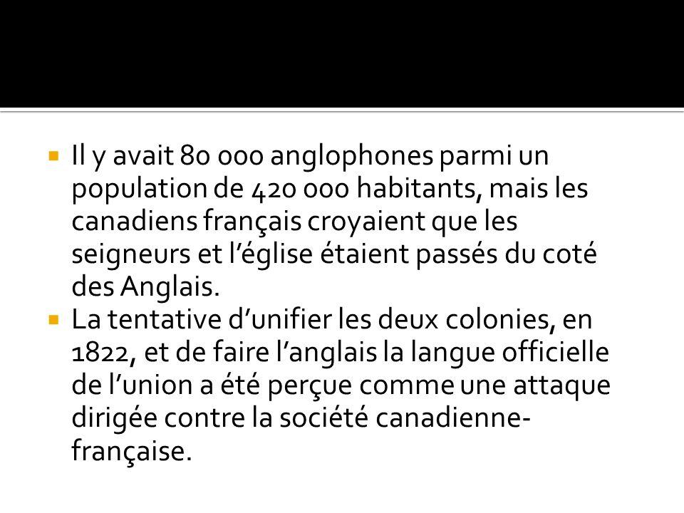 Il y avait 80 000 anglophones parmi un population de 420 000 habitants, mais les canadiens français croyaient que les seigneurs et léglise étaient pas