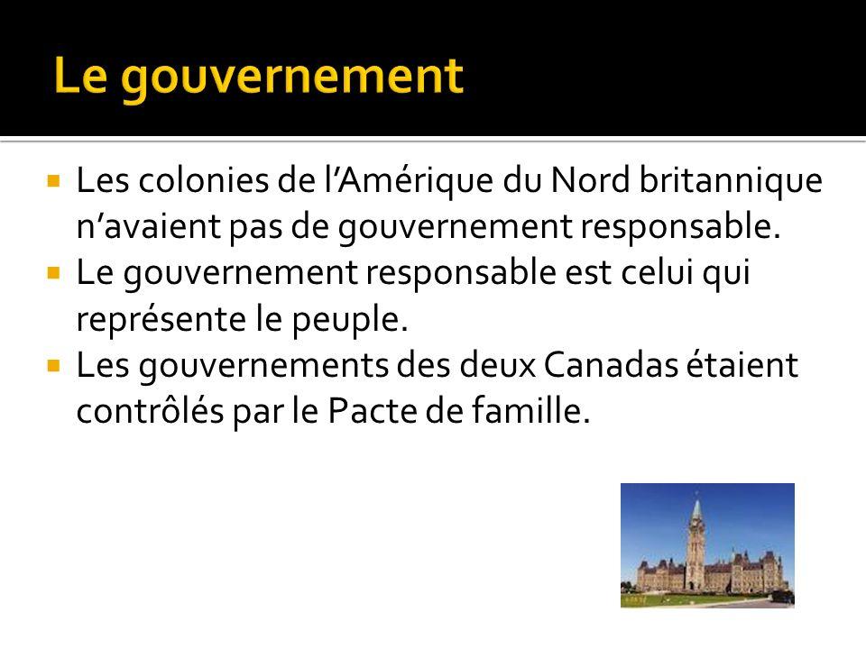 Les colonies de lAmérique du Nord britannique navaient pas de gouvernement responsable. Le gouvernement responsable est celui qui représente le peuple