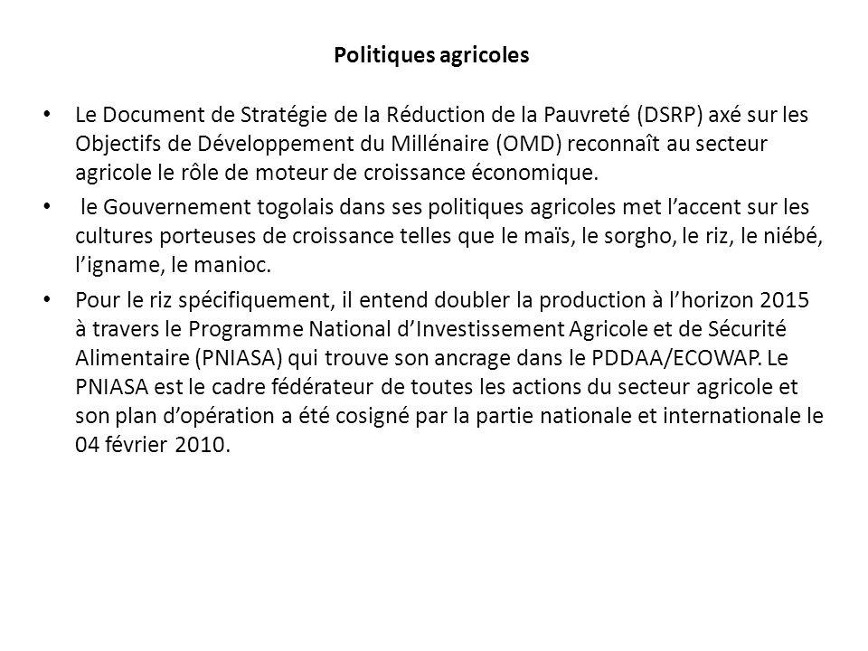 Politiques agricoles Le Document de Stratégie de la Réduction de la Pauvreté (DSRP) axé sur les Objectifs de Développement du Millénaire (OMD) reconnaît au secteur agricole le rôle de moteur de croissance économique.