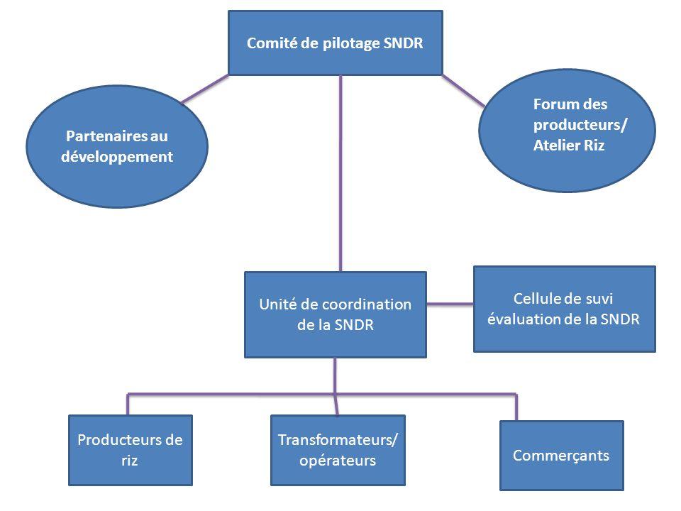 Comité de pilotage SNDR Forum des producteurs/ Atelier Riz Partenaires au développement Unité de coordination de la SNDR Cellule de suvi évaluation de la SNDR Producteurs de riz Transformateurs/ opérateurs Commerçants