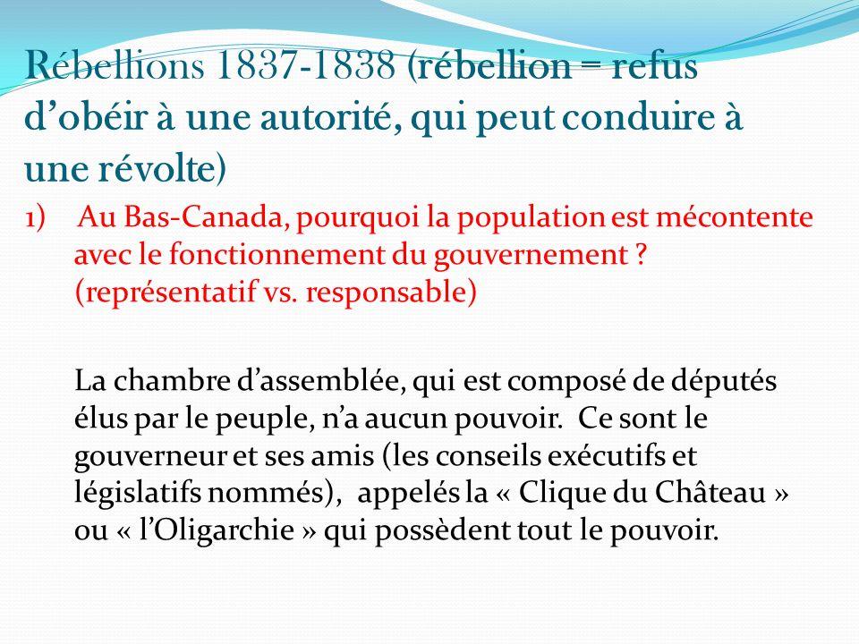 Rébellions 1837-1838 (rébellion = refus dobéir à une autorité, qui peut conduire à une révolte) 1) Au Bas-Canada, pourquoi la population est mécontent
