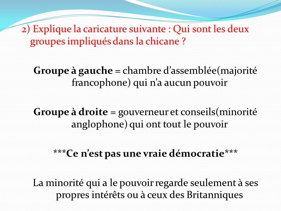 2) Explique la caricature suivante : Qui sont les deux groupes impliqués dans la chicane ? Groupe à gauche = chambre dassemblée(majorité francophone)