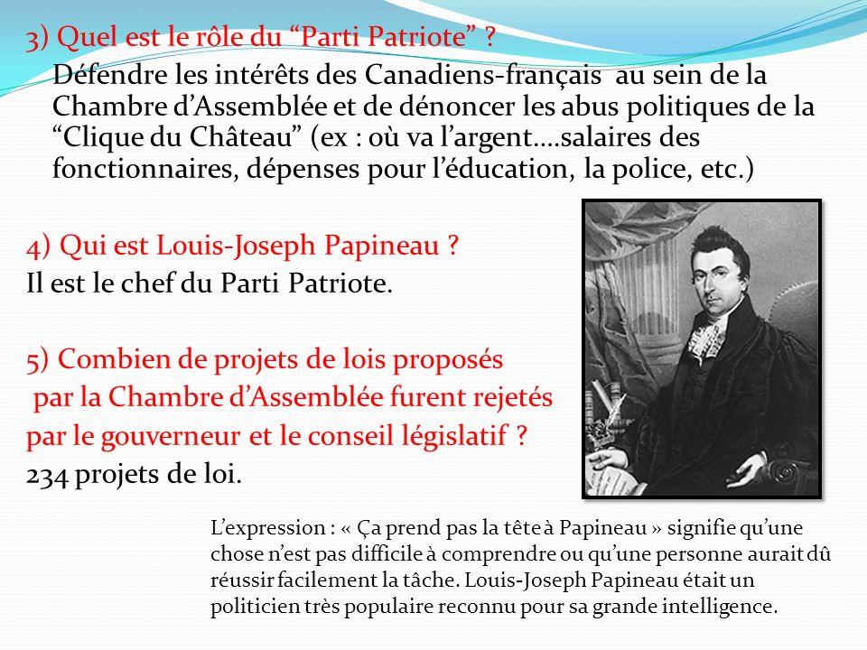 3) Quel est le rôle du Parti Patriote ? Défendre les intérêts des Canadiens-français au sein de la Chambre dAssemblée et de dénoncer les abus politiqu
