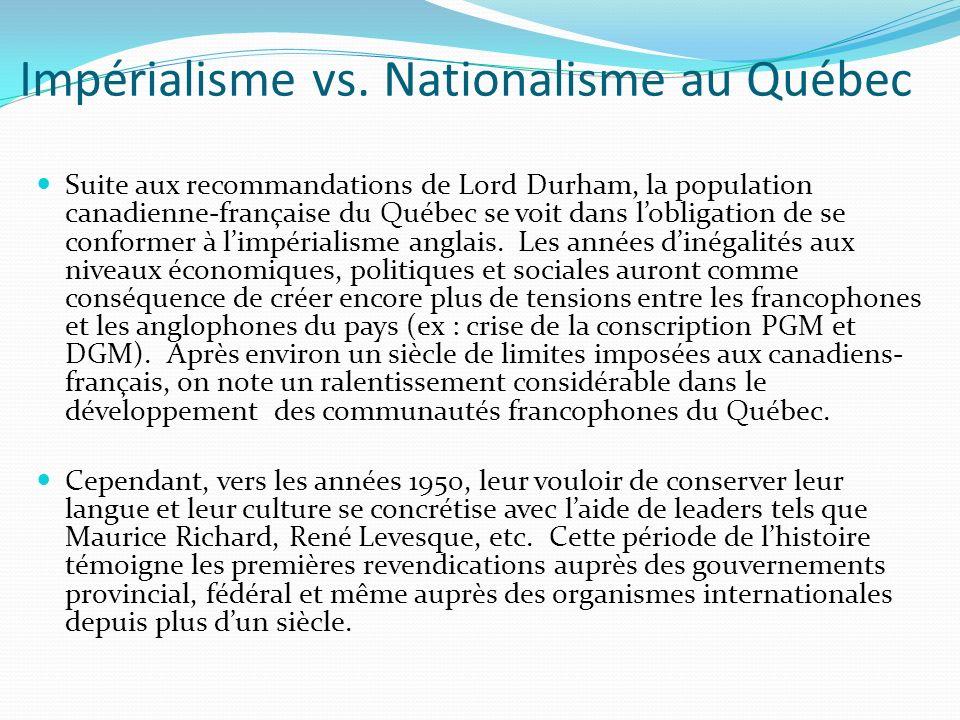 Impérialisme vs. Nationalisme au Québec Suite aux recommandations de Lord Durham, la population canadienne-française du Québec se voit dans lobligatio