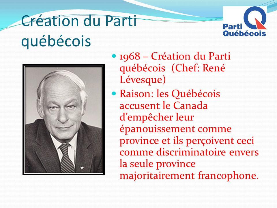 Création du Parti québécois 1968 – Création du Parti québécois (Chef: René Lévesque) Raison: les Québécois accusent le Canada dempêcher leur épanouiss