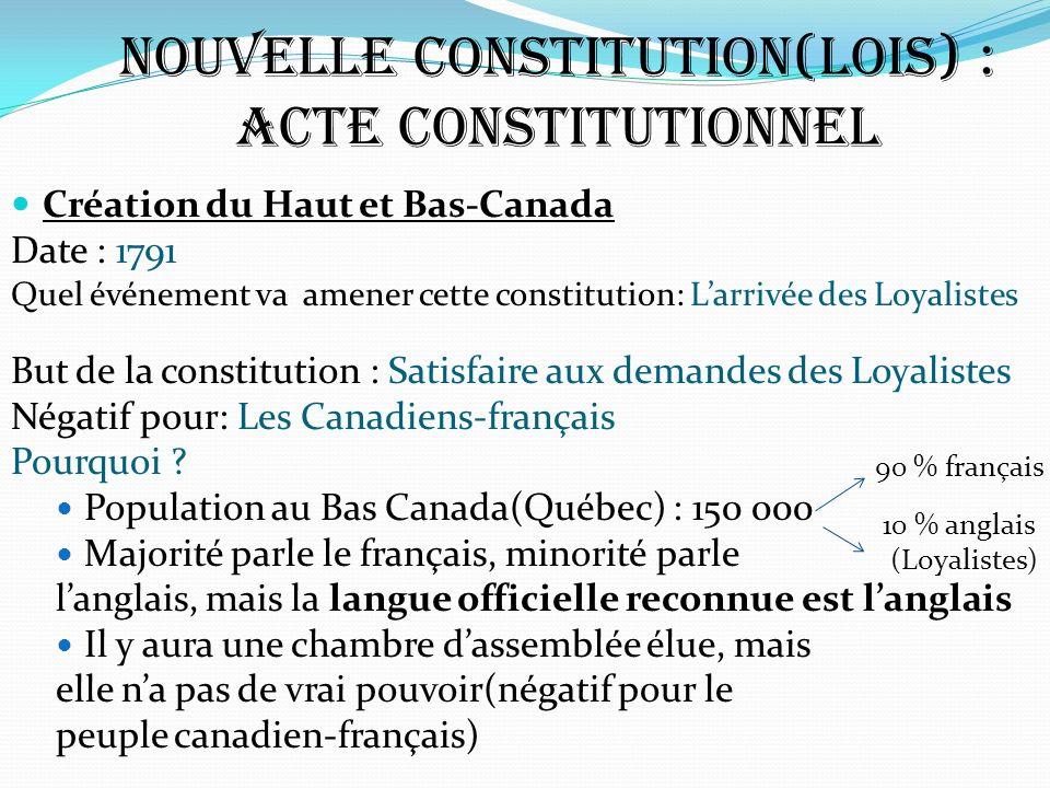 Nouvelle constitution(lois) : Acte Constitutionnel Création du Haut et Bas-Canada Date : 1791 Quel événement va amener cette constitution: Larrivée de