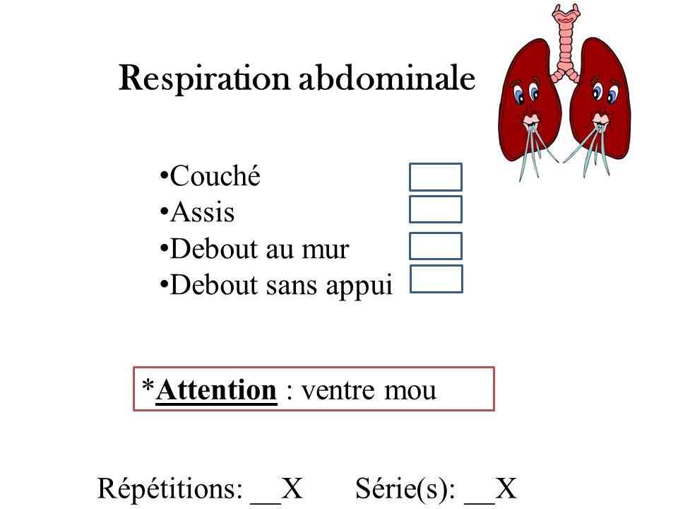 Respiration abdominale Répétitions: __X Série(s): __X *Attention : ventre mou Couché Assis Debout au mur Debout sans appui