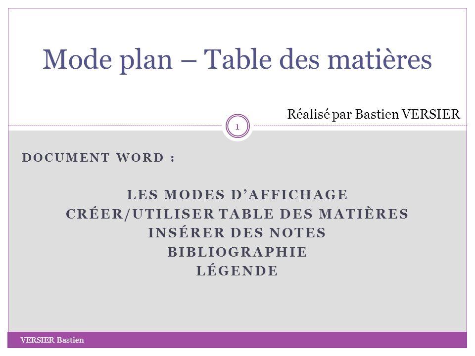 DOCUMENT WORD : LES MODES DAFFICHAGE CRÉER/UTILISER TABLE DES MATIÈRES INSÉRER DES NOTES BIBLIOGRAPHIE LÉGENDE Mode plan – Table des matières Réalisé