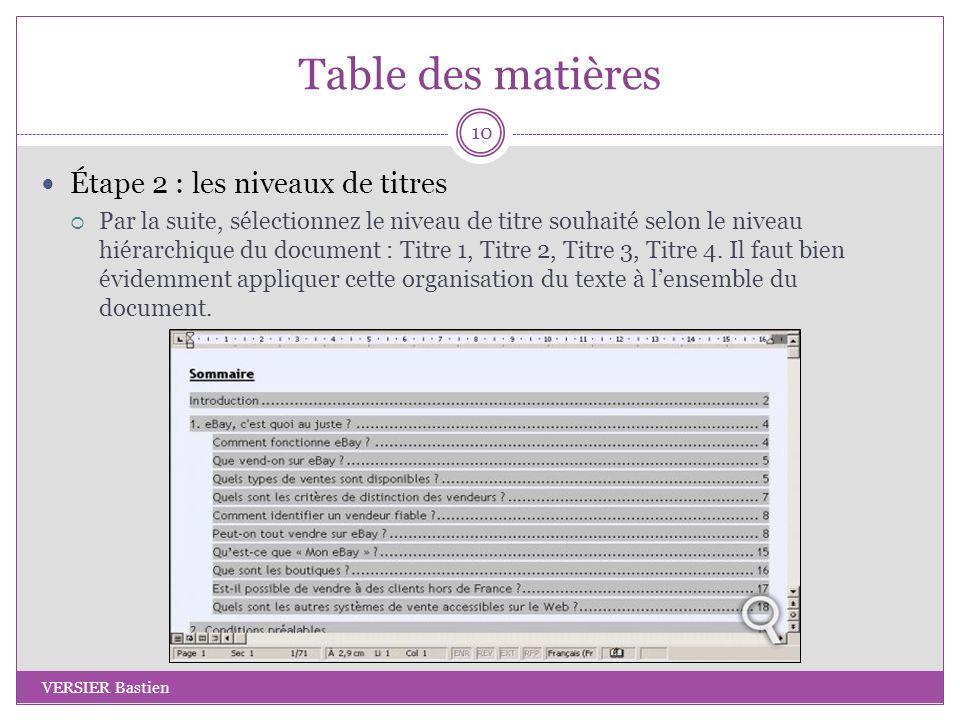 Table des matières Étape 2 : les niveaux de titres Par la suite, sélectionnez le niveau de titre souhaité selon le niveau hiérarchique du document : T