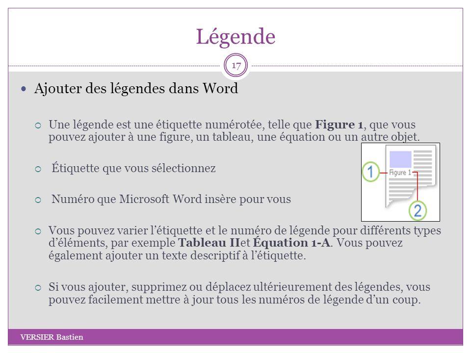 Légende Ajouter des légendes dans Word Une légende est une étiquette numérotée, telle que Figure 1, que vous pouvez ajouter à une figure, un tableau,