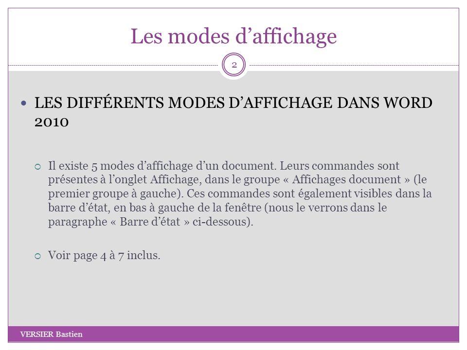 Les modes daffichage LES DIFFÉRENTS MODES DAFFICHAGE DANS WORD 2010 Il existe 5 modes daffichage dun document. Leurs commandes sont présentes à longle