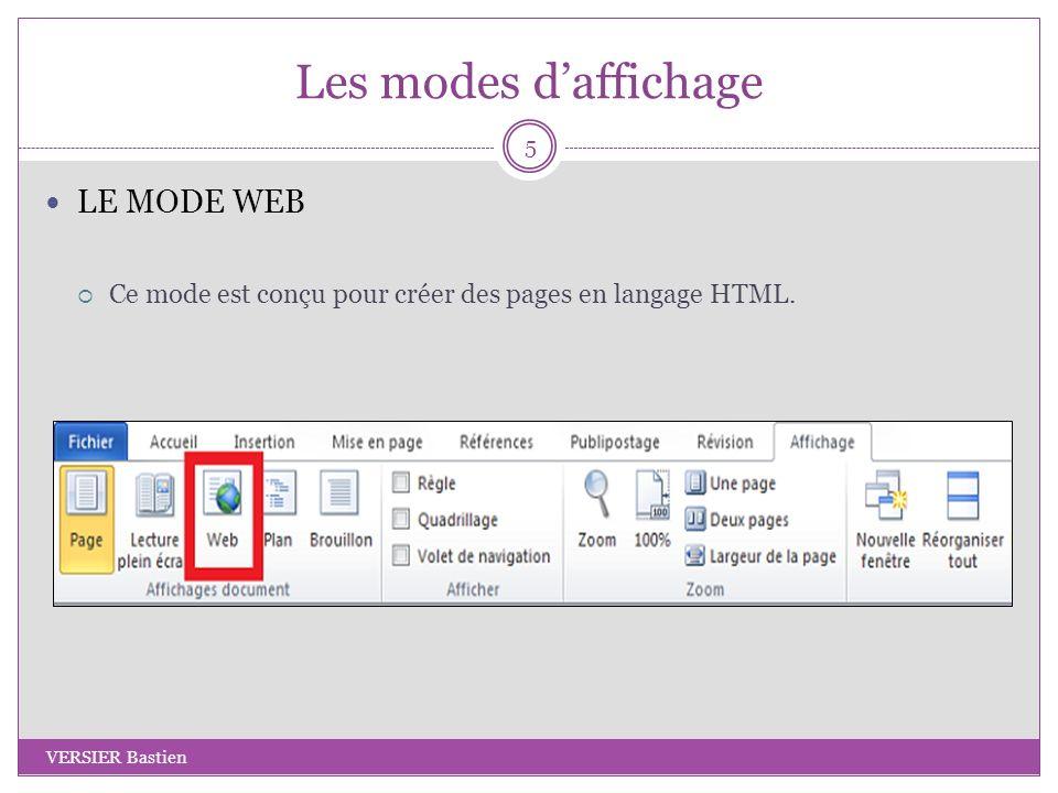 Les modes daffichage LE MODE WEB Ce mode est conçu pour créer des pages en langage HTML. 5 VERSIER Bastien