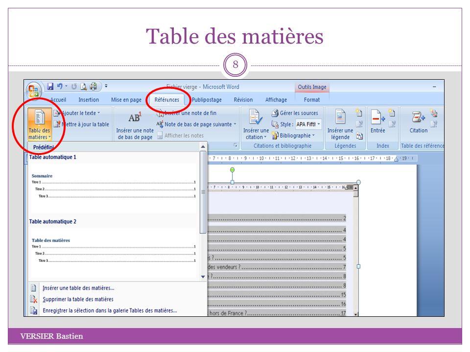 Conclusion VERSIER Bastien 19 Sources utilisées : Mode daffichage : http://www.helenemarchand.com/2010/08/02/word-%E2%80%93-mode-plan/ Table des matières : http://office.microsoft.com/fr-ca/word-help/creer-une-table-des-matieres-HP001225372.aspx