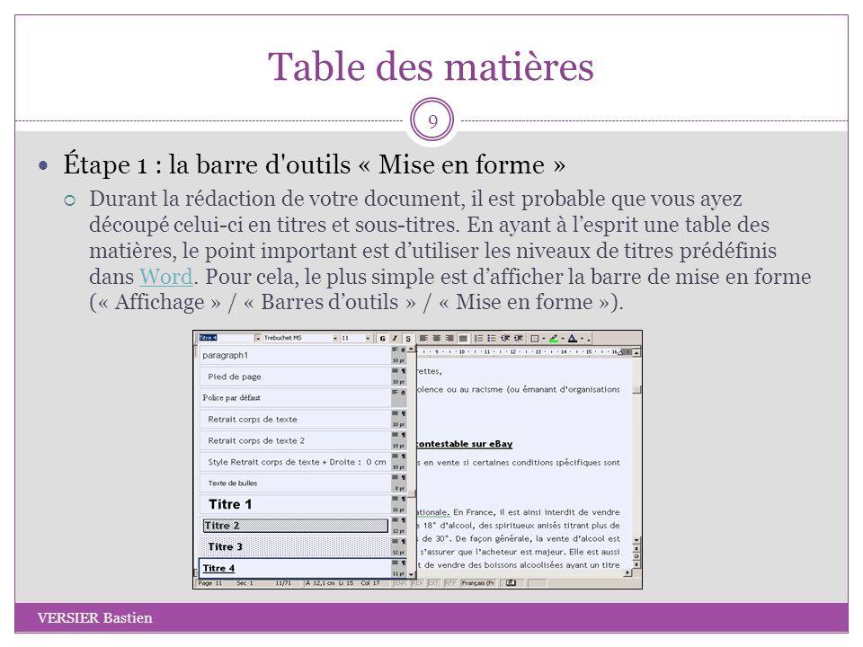 Table des matières Étape 2 : les niveaux de titres Par la suite, sélectionnez le niveau de titre souhaité selon le niveau hiérarchique du document : Titre 1, Titre 2, Titre 3, Titre 4.