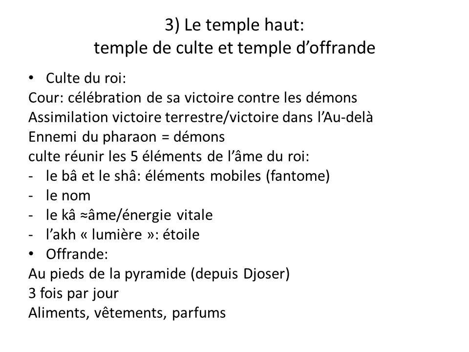 3) Le temple haut: temple de culte et temple doffrande Culte du roi: Cour: célébration de sa victoire contre les démons Assimilation victoire terrestr