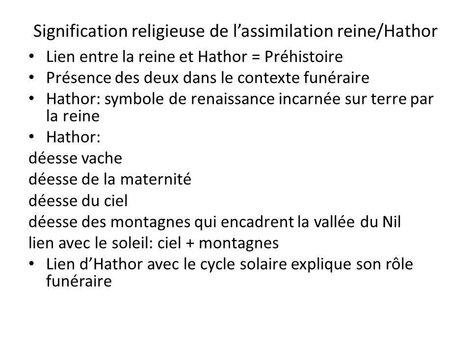Signification religieuse de lassimilation reine/Hathor Lien entre la reine et Hathor = Préhistoire Présence des deux dans le contexte funéraire Hathor