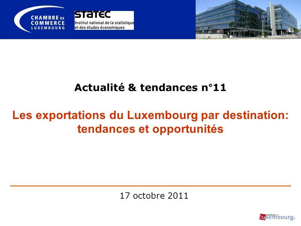 Actualité & tendances n°11 Les exportations du Luxembourg par destination: tendances et opportunités 17 octobre 2011