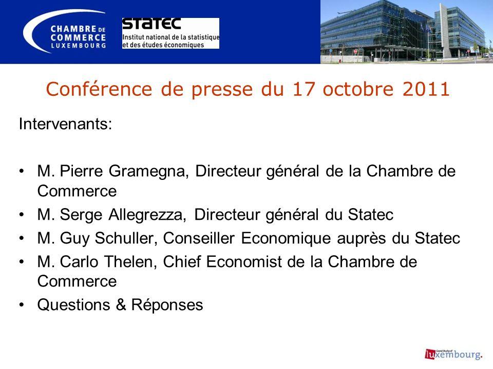 Conférence de presse du 17 octobre 2011 Intervenants: M.