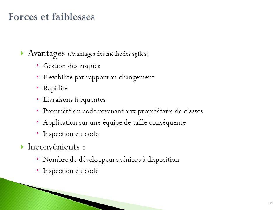 Avantages (Avantages des méthodes agiles) Gestion des risques Flexibilité par rapport au changement Rapidité Livraisons fréquentes Propriété du code r