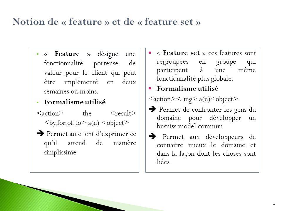 « Feature » désigne une fonctionnalité porteuse de valeur pour le client qui peut être implémenté en deux semaines ou moins. Formalisme utilisé the a(