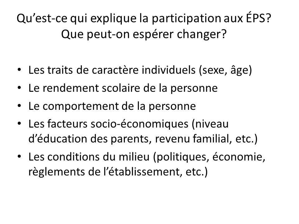 Quest-ce qui explique la participation aux ÉPS. Que peut-on espérer changer.