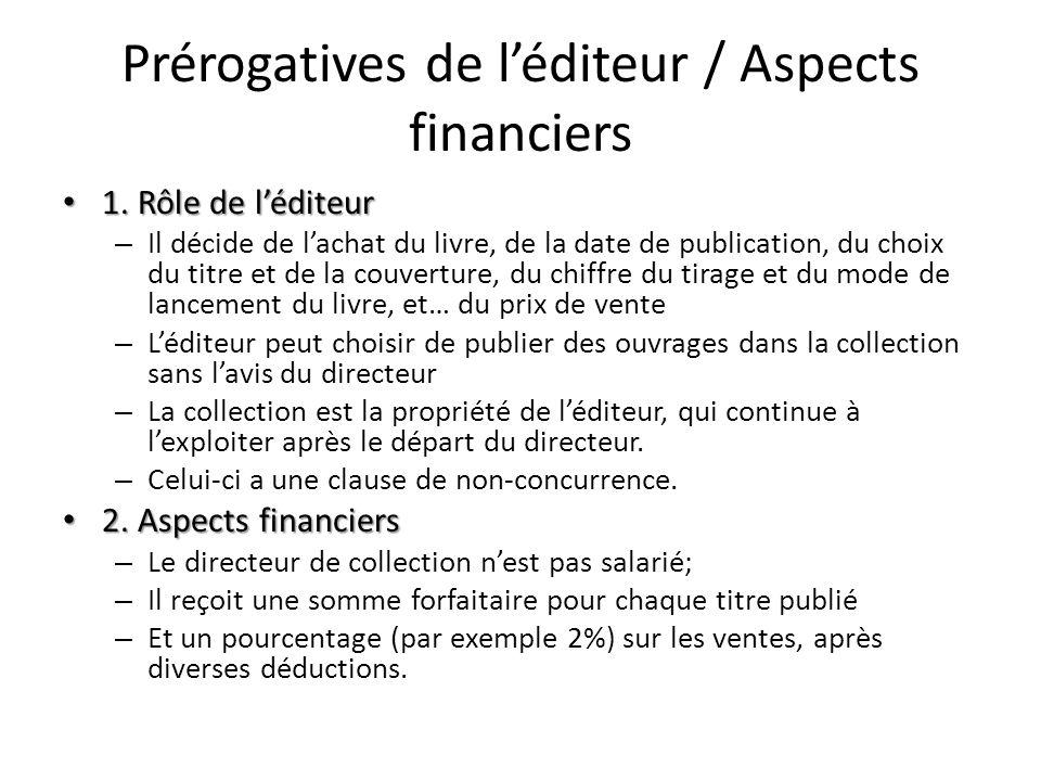 Prérogatives de léditeur / Aspects financiers 1. Rôle de léditeur 1. Rôle de léditeur – Il décide de lachat du livre, de la date de publication, du ch
