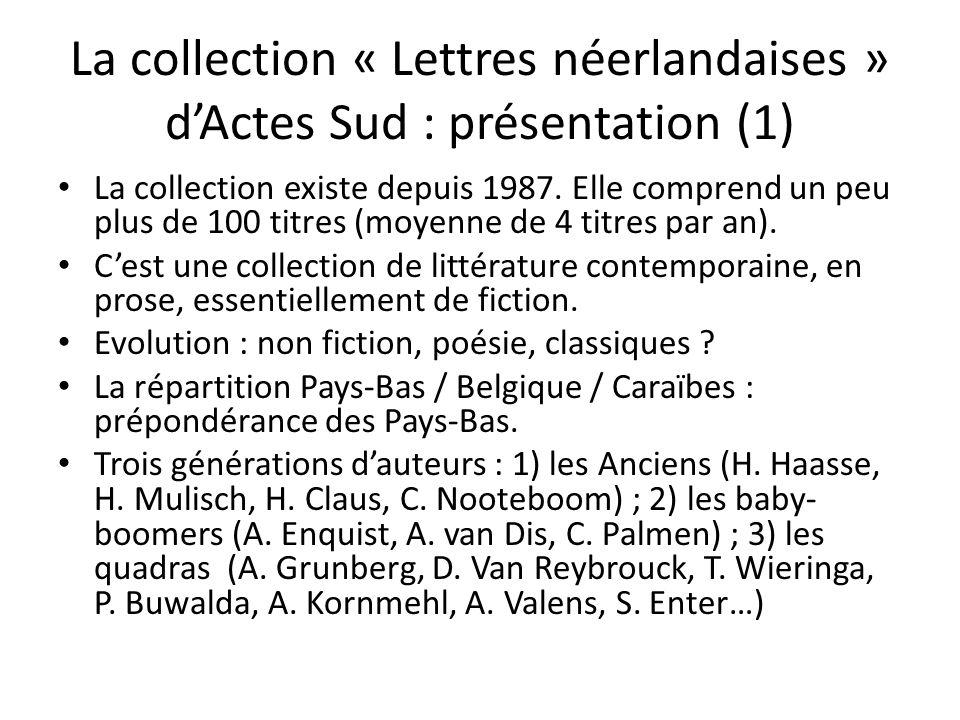 La collection « Lettres néerlandaises » dActes Sud : présentation (1) La collection existe depuis 1987. Elle comprend un peu plus de 100 titres (moyen