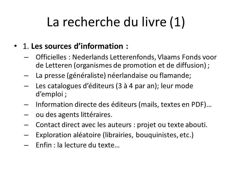 La recherche du livre (1) 1. Les sources dinformation : – Officielles : Nederlands Letterenfonds, Vlaams Fonds voor de Letteren (organismes de promoti