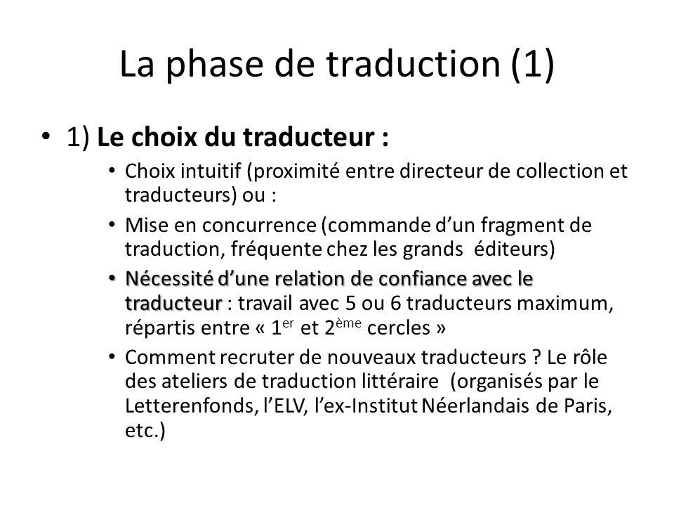 La phase de traduction (1) 1) Le choix du traducteur : Choix intuitif (proximité entre directeur de collection et traducteurs) ou : Mise en concurrenc