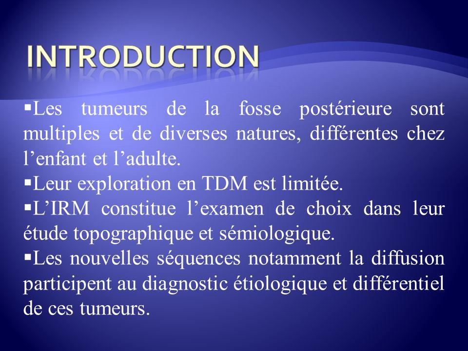 Les tumeurs de la fosse postérieure sont multiples et de diverses natures, différentes chez lenfant et ladulte. Leur exploration en TDM est limitée. L