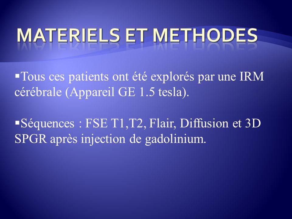 Tous ces patients ont été explorés par une IRM cérébrale (Appareil GE 1.5 tesla). Séquences : FSE T1,T2, Flair, Diffusion et 3D SPGR après injection d