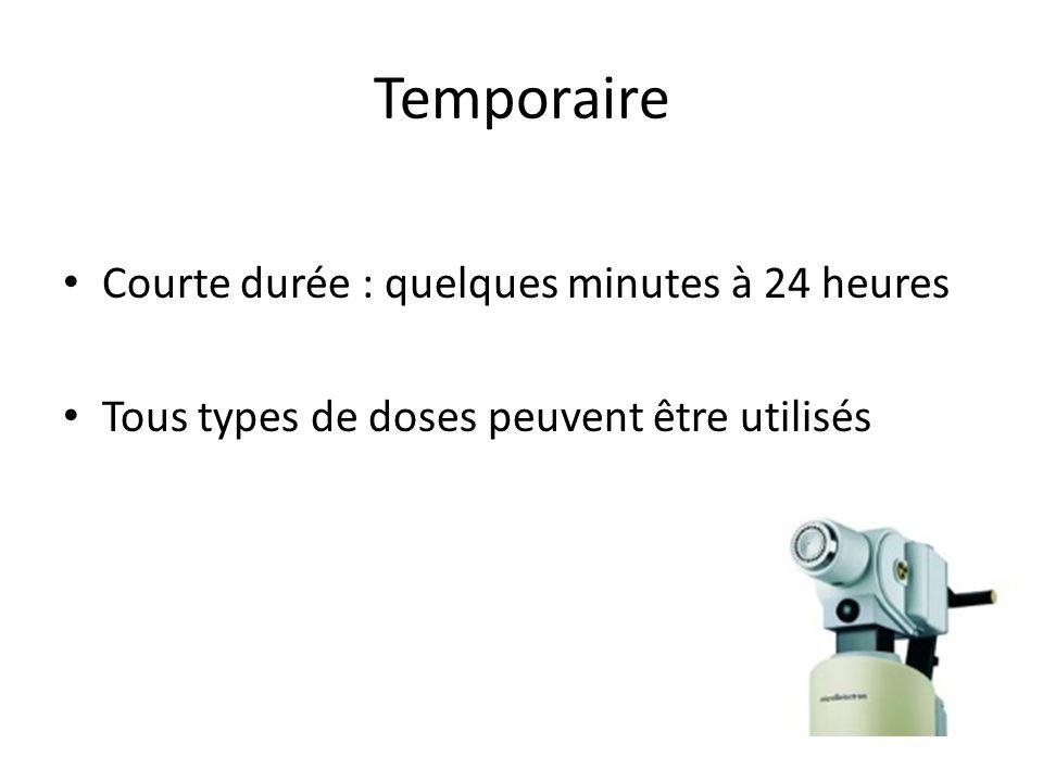 Temporaire Courte durée : quelques minutes à 24 heures Tous types de doses peuvent être utilisés
