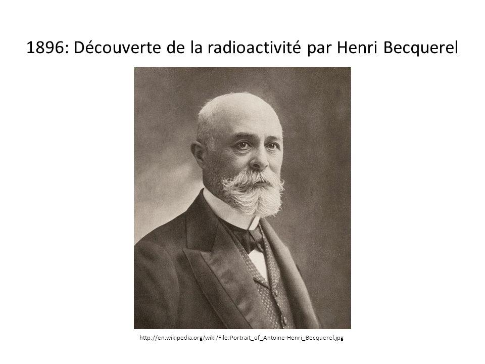 http://en.wikipedia.org/wiki/File:Portrait_of_Antoine-Henri_Becquerel.jpg 1896: Découverte de la radioactivité par Henri Becquerel