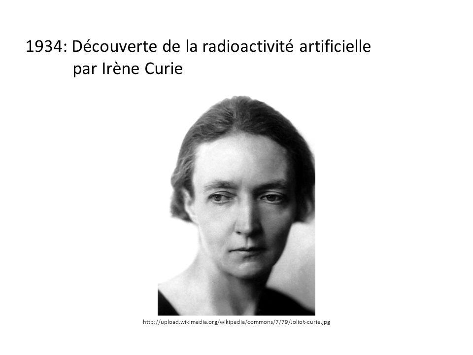 1934: Découverte de la radioactivité artificielle par Irène Curie http://upload.wikimedia.org/wikipedia/commons/7/79/Joliot-curie.jpg