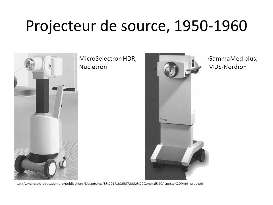 Projecteur de source, 1950-1960 MicroSelectron HDR, Nucletron GammaMed plus, MDS-Nordion http://www.estro-education.org/publications/Documents/B%201%2