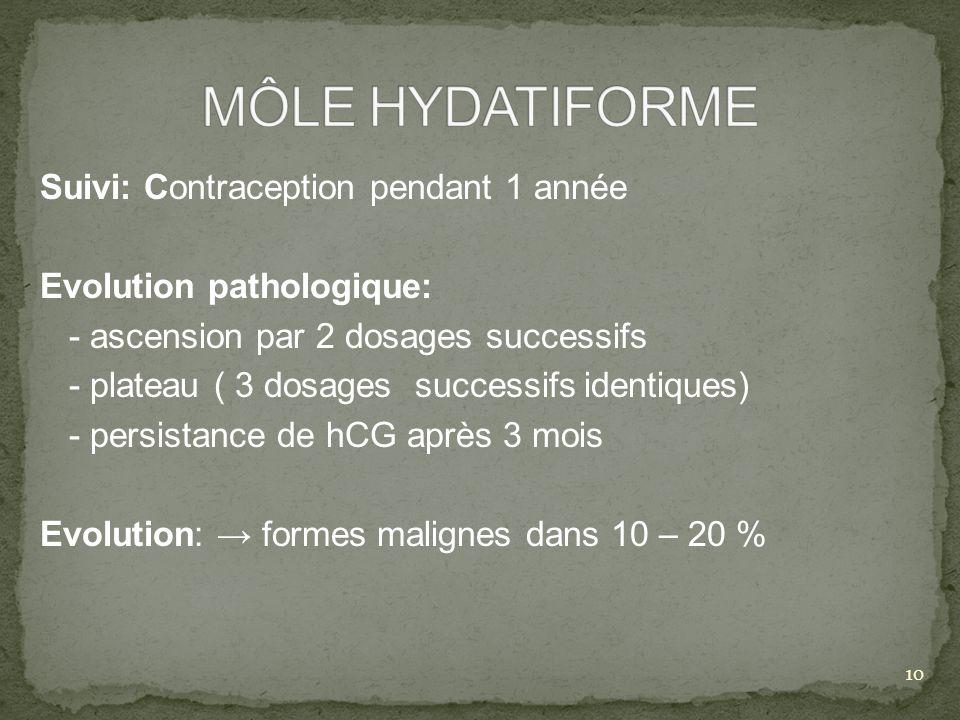 Suivi: Contraception pendant 1 année Evolution pathologique: - ascension par 2 dosages successifs - plateau ( 3 dosages successifs identiques) - persi